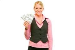 企业美元装箱微笑的妇女 库存照片