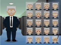 企业老人动画片情感面对传染媒介例证 免版税库存照片