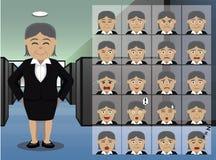 企业老妇人动画片情感面对传染媒介例证 免版税库存图片