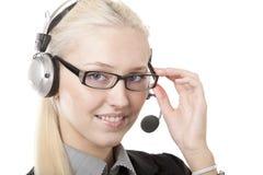 企业耳机妇女 免版税库存照片