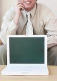 企业膝上型计算机介绍 免版税库存图片