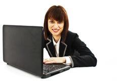 企业膝上型计算机妇女工作 免版税库存图片