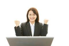 企业膝上型计算机妇女工作 图库摄影
