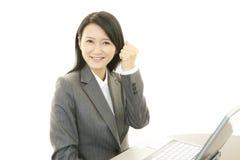 企业膝上型计算机妇女工作 免版税库存照片