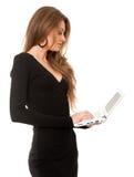 企业膝上型计算机妇女年轻人 库存图片
