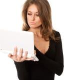 企业膝上型计算机妇女年轻人 免版税库存图片