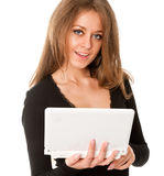 企业膝上型计算机妇女年轻人 库存照片