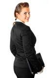 企业膝上型计算机现代微笑的妇女 免版税图库摄影