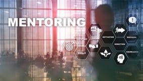 企业良师 个人教练 训练个人发展概念 混合画法 库存照片