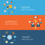 企业营销概念平的象横幅模板集合 库存图片
