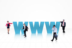 企业蓝色的互联网人 图库摄影