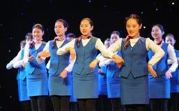 企业衣服航空公司空中小姐训练课 库存照片