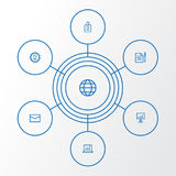 企业被设置的概述象 协议、统计、Whiteboard和其他元素的汇集 并且包括标志 免版税库存照片