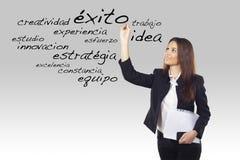 企业西班牙妇女措辞文字年轻人 免版税库存照片