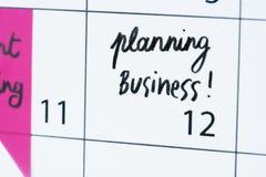 企业规划日历提示特写镜头 免版税库存图片