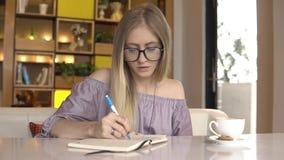 企业规划 在每日计划者的女实业家文字 股票视频
