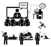 企业视讯会议卫星电话Cliparts象 向量例证