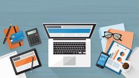 企业计算器桌面日志笔 向量例证