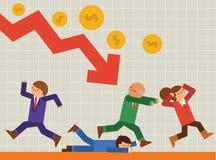 企业计算器概念危机绘制经济笔 免版税库存图片