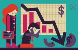 企业计算器概念危机绘制经济笔 图库摄影