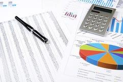 企业计算器绘制概念笔图表 免版税库存图片