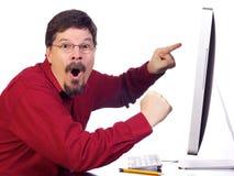 企业计算机人成熟工作 免版税库存照片