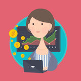 企业计算机妇女工作 库存图片