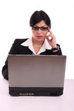 企业计算机服务台她的妇女工作 免版税库存图片