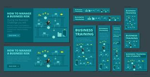企业训练比赛和竞争 一套横幅网的所有标准尺寸 深蓝版本 皇族释放例证