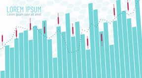 企业财政infographics的模板 与上涨的和下跌的出售购买价格的贸易的日程表 蜡烛线棍子图表 库存例证