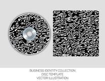 企业身分汇集 黑白混乱 CD或DVD盖子模板 eps10开花橙色模式缝制的rac ric缝的镶边修整向量墙纸黄色 向量例证