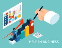 企业辅导者帮助伙伴 等量3d传染媒介 免版税库存图片