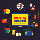 企业运作的infographics元素 也corel凹道例证向量 库存照片