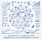 企业连接的人民的乱画概念 免版税库存照片