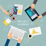企业配合 经营战略平的横幅  免版税库存图片