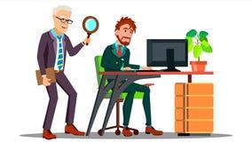 企业间谍活动,拿着放大器的雇员站立在雇员后在有计算机传染媒介的桌面 查出 库存例证