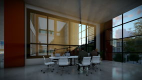 企业队会议在会议室,晚上,掀动 股票录像