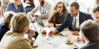 企业队会议战略营销咖啡馆概念 免版税库存图片