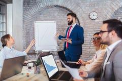 企业队会议运作的介绍 免版税库存图片