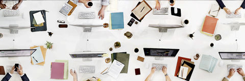 企业队会议连接数字技术概念 免版税库存照片