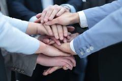 企业队加入的手的画象一起在办公室 免版税图库摄影