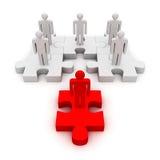 企业队另外红色领导在难题的 库存例证