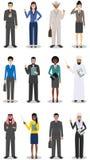 企业队和配合概念 套站立在不同的商人和女实业家的详细的例证 库存照片