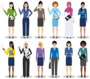 企业队和配合概念 套站立用不同的位置的女实业家的详细的例证  免版税库存图片