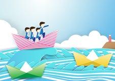企业队工作概念 与领导的商人在小船 库存照片