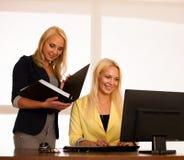 企业队-工作检查数据库的两名妇女在办公室 库存照片