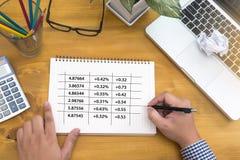 企业队Workin经济和图表接口销售stoc 免版税图库摄影