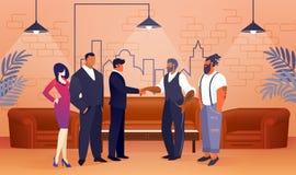 企业项目协议在现代办公室地区 向量例证