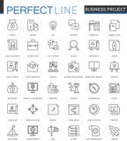 企业项目稀薄的线被设置的网象 战略管理概述冲程象设计 免版税库存图片