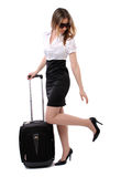 企业飞行她等待的妇女 免版税库存图片